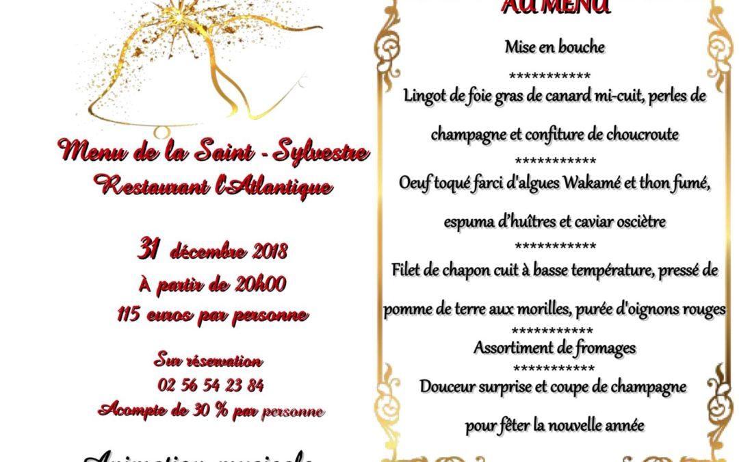 Menu de la Saint-Sylvestre le 31 décembre 2018